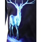 Round Neck Starry Sky 3D Deer Print Long Sleeve T-Shirt for sale