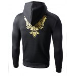 cheap Hooded Golden Floral Print Long Sleeve Hoodie