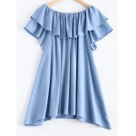 Pure Color Frilled Overlay Asymmetric Dress