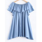 cheap Pure Color Frilled Overlay Asymmetric Dress