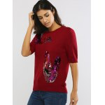 cheap Sequined 1/2 Sleeve Round Neck Sweater