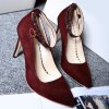 Buy Sequins Point Toe Suede Ankle Strap Pumps 41 WINE RED