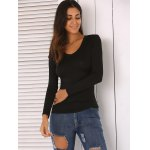 cheap Solid Color Skinny Slimming T-Shirt