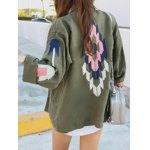 Turn-Down Collar Embroidered Utility Jacket deal