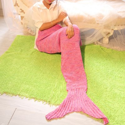 Pink Dreamlike Sea World Photography or Sofa Knitted Mermaid Blanket For Kids