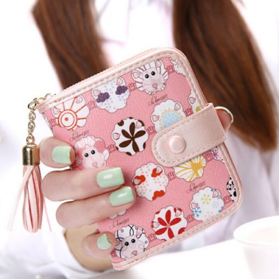 Cartoon Print Tassels Small Tab WalletCoin Purse &amp; Card Holder<br>Cartoon Print Tassels Small Tab Wallet<br><br>Gender: For Women<br>Style: Casual<br>Closure Type: String<br>Pattern Type: Character<br>Main Material: PU<br>Length: 11.5CM<br>Width: 3.2CM<br>Height: 10CM<br>Weight: 0.131kg<br>Package Contents: 1 x Coin Purse