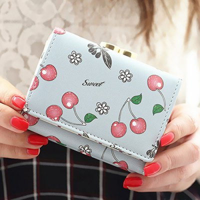 Clip Cherry Print Flap Magnetic Closure Coin PurseCoin Purse &amp; Card Holder<br>Clip Cherry Print Flap Magnetic Closure Coin Purse<br><br>Gender: For Women<br>Style: Casual<br>Closure Type: String<br>Pattern Type: Print<br>Main Material: PU<br>Length: 10.5CM<br>Width: 3CM<br>Height: 8CM<br>Weight: 0.176kg<br>Package Contents: 1 x Coin Purse