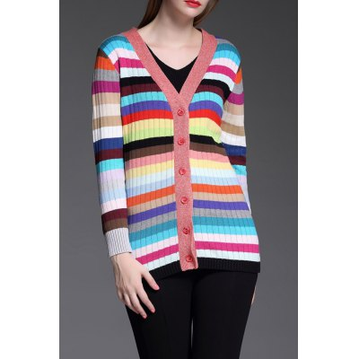 Buttoned Colorful Striped Cardigan
