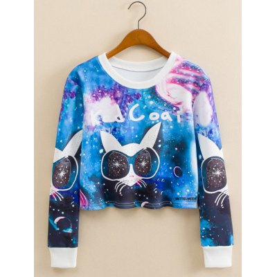 Glasses Kitty Starry Sky Print Cropped Long Sleeve Sweatshirt