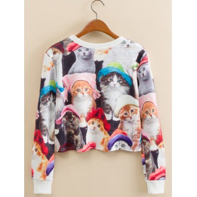Kitty Family Cropped Long Sleeve Sweatshirt