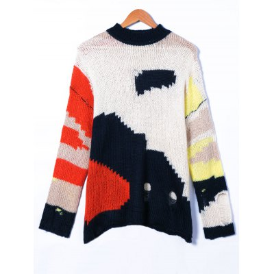 Ripped Round Neck Patchwork Sweater