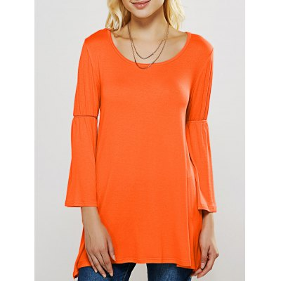 Flare Sleeve Longline Swing T-Shirt