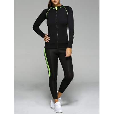 Contrast Color Zippered Letter Pattern Sports Suit