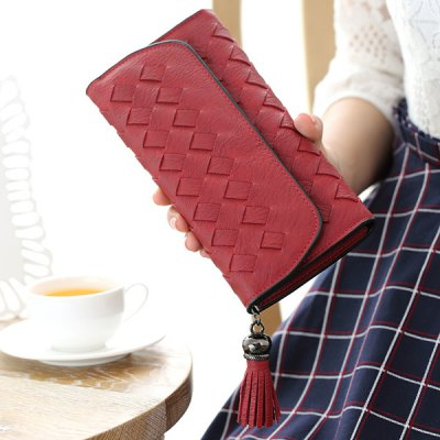 Stitching Cover Flap Tassel Woven Wallet