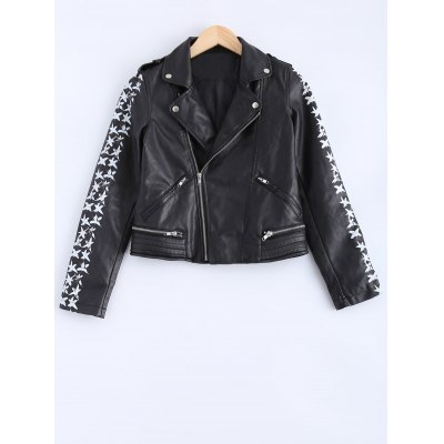 Lapel Collar Letter Print PU Leather Jacket