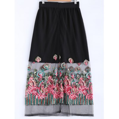 Stylish Elastic Waist Voile Spliced Embroidery Skirt For Women