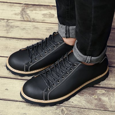 Stitching Lace-Up Leather Casual Shoes