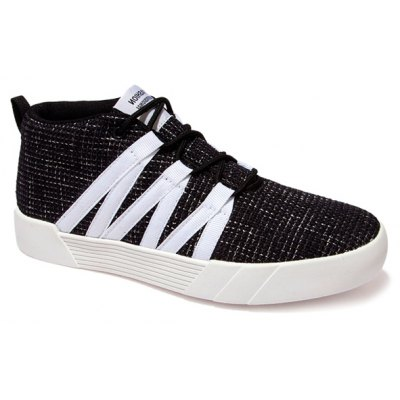 Lace-Up Linen Mid Top Casual Shoes