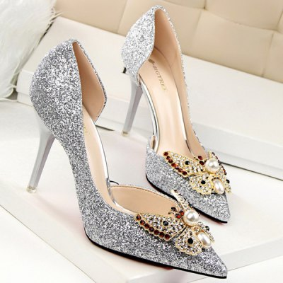 Sequined Faux Pearl Butterfly Pumps