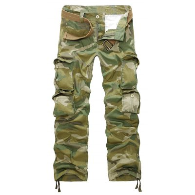 Camouflage Zipper Fly Straight Leg Multi-Pockets Embellished Pants