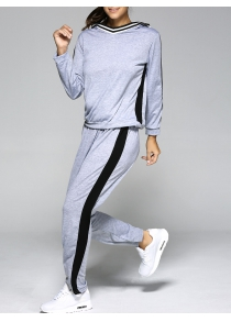 Hooded Contrast Color Spliced Sports Suit