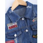 best Stylish Badge Spliced Ripped Bleach Wash Cropped Denim Jacket