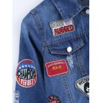 Stylish Badge Spliced Ripped Bleach Wash Cropped Denim Jacket photo