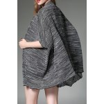 Buy Knitted Batwing Sleeve Cardigan M DEEP GRAY