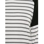 Striped Round Neck Raglan Sleeve Spliced T-Shirt for sale