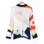 cheap Ripped Round Neck Patchwork Sweater