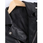 Vintage Lapel Collar Letter Print PU Leather Jacket for sale