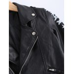 Vintage Lapel Collar Letter Print PU Leather Jacket deal
