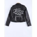 cheap Vintage Lapel Collar Letter Print PU Leather Jacket