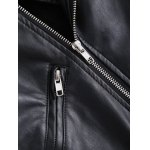 best Vintage Lapel Collar Letter Print PU Leather Jacket