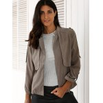 Stylish Stand Neck Long Sleeve Gray Women's Trench Coat deal