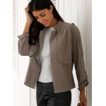 Stylish Stand Neck Long Sleeve Gray Women's Trench Coat for sale