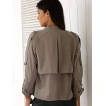 Stylish Stand Neck Long Sleeve Gray Women's Trench Coat photo