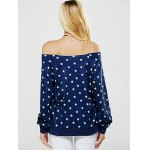 Off The Shoulder Five Point Star Print Sweatshirt for sale