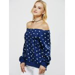 Off The Shoulder Five Point Star Print Sweatshirt deal
