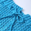 Simple Blue Bowknot Lace-Up Photography or Sofa Knitted Mermaid Blanket For Kids deal