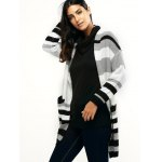 cheap Pocket Design Striped Loose-Fitting Cardigan