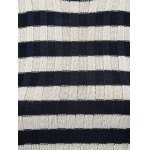 best Sleeveless Striped Furcal Ribbed Knitwear