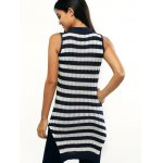 Sleeveless Striped Furcal Ribbed Knitwear for sale