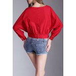 cheap Slash Neck Batwing Sleeve Cropped T-Shirt