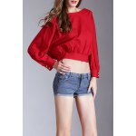 Slash Neck Batwing Sleeve Cropped T-Shirt deal