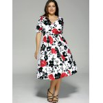 cheap Plus Size High Waist Floral Surplice Dress