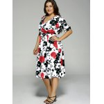 Plus Size High Waist Floral Surplice Dress deal