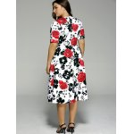 Plus Size High Waist Floral Surplice Dress for sale