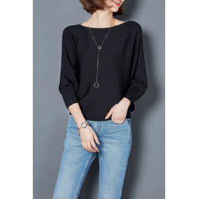 Boat Neck Batwing Sleeve Top
