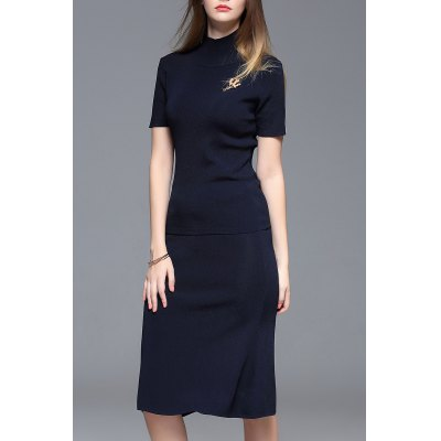 Turtle Neck Blouse and Skirt